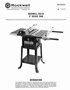 Delta Rockwell    9 U0026quot  Deluxe Saw Instructions