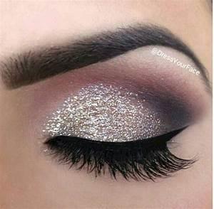 Silver glitter smokey eyeshadow   Make Up   Pinterest