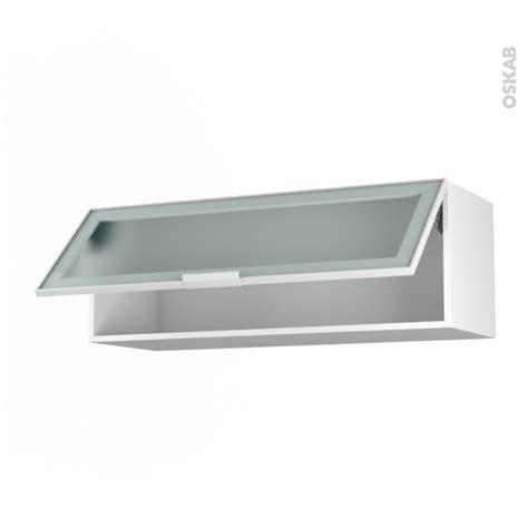 porte facade cuisine meuble de cuisine haut abattant vitré façade blanche alu 1 porte l100 x h35 x p37 cm sokleo oskab
