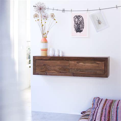 bureau contemporain bois console suspendue en palissandre massif pas cher tikamoon