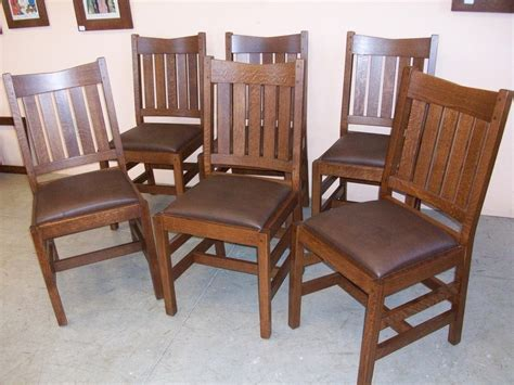 Oak Dining Room Chairs by Set Of 6 New Mission Oak Dining Chairs Home Living