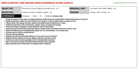 dietary aide title docs