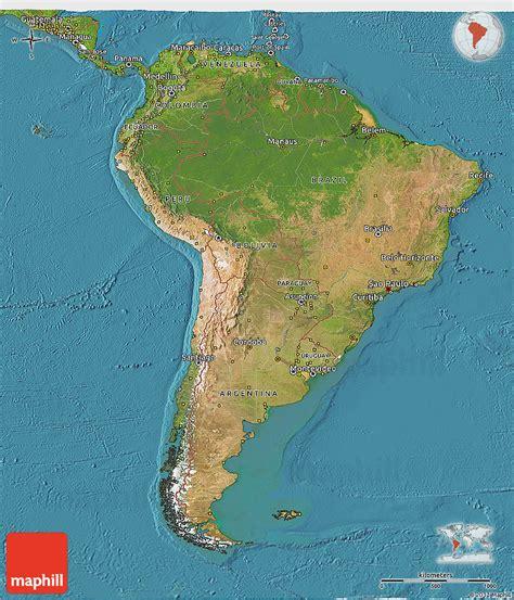 satellite  map  south america