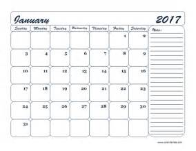 Printable Blank Monthly Calendar Template 2017
