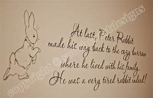 Beatrix Potter - Peter Rabbit & Quote Wall Sticker - Design 2