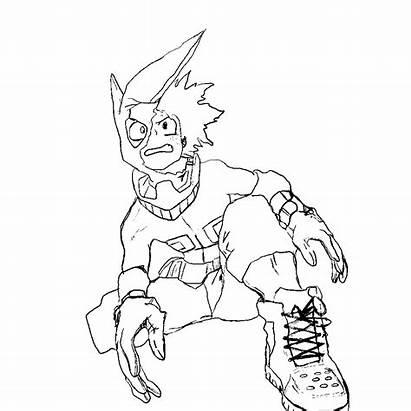 Academia Hero Deku Coloring Boku Sketch Pintar