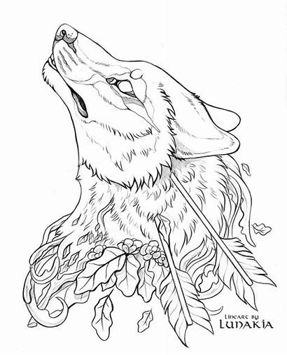 Wolf Lineart Deviantart Coloring Pages Tattoo Pack