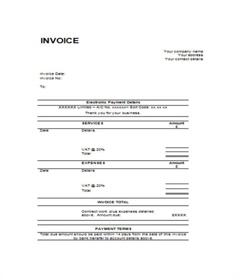 blank invoice templates  word  documents