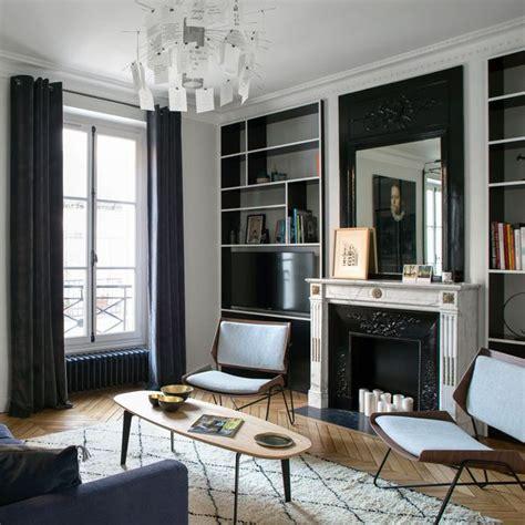 déco salon blanc dans appartement haussmannien déco de salon plus de 40 photos pour mettre l 39 ambiance côté maison