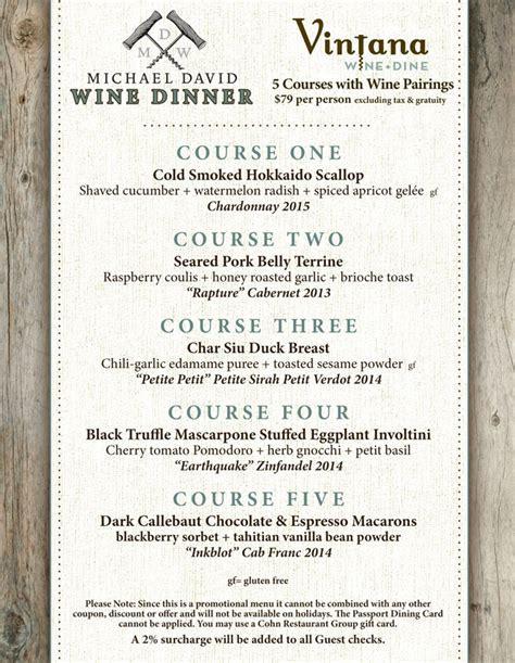 Michael David Wine Dinner at Vintana   Cohn Restaurant Group