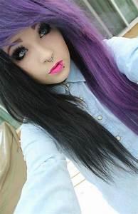 Half ash purple half black | Hairstyles | Pinterest