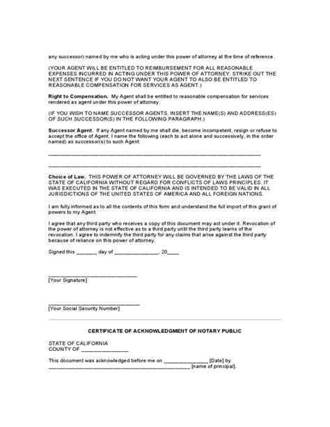 durable power of attorney form for california general durable power of attorney form california free