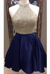 Dark blue satins beading sequins halter A-line short prom ...