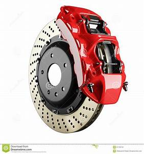 Automobile Brake Disk And Red Caliper Stock Illustration