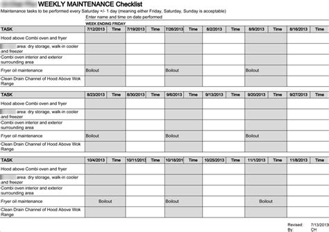 Kitchen Equipment Maintenance Checklist  Rapflava. Rogers Rules Of Order Minutes Template. Schedule Of Events Template. Resume Of A Sales Associate In Retail Template. Professional Resumes Templates Free Template. Sample Cover Letter For Accounting Assistant Template. Writing An Internship Cover Letters Template. Medical Powerpoint Template Free. Resume Writing Example