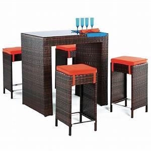 Table Bar Avec Tabouret : achat vente table bar de jardin avec 4 tabourets hevea mobilier de jardin ~ Teatrodelosmanantiales.com Idées de Décoration