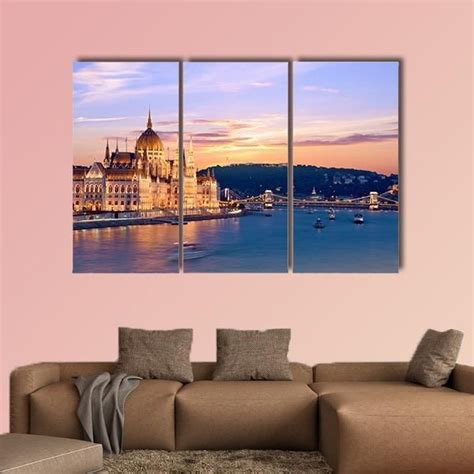 Order now with free shipping, free installation & cod Parliament And The Bridge Over The Danube In Budapest Multi Panel Canvas Wall Art   Canvas wall ...