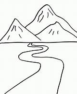 Mountains Coloring Simple sketch template