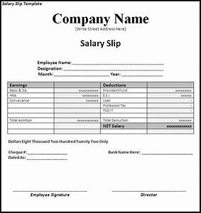 simple salary slip template sample with company name and With editable payslip template