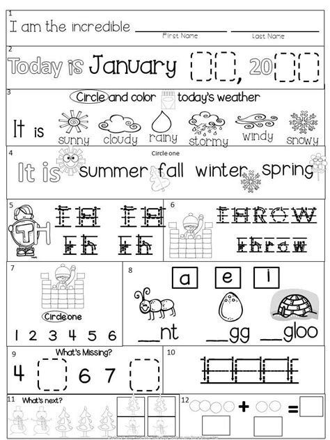 morning work kindergarten january packet common core