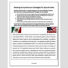 Spanish Reading Comprehension Activity For September 11 By Mr Electives