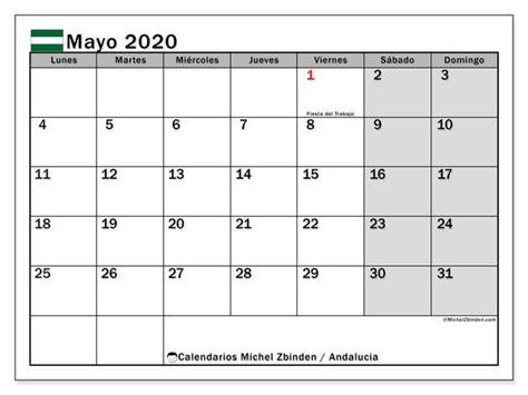 calendario mayo  andalucia espana calendario