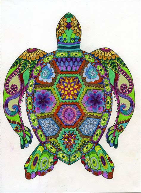 Art Of Coloring Animals Turtle Animal And Adult Coloring