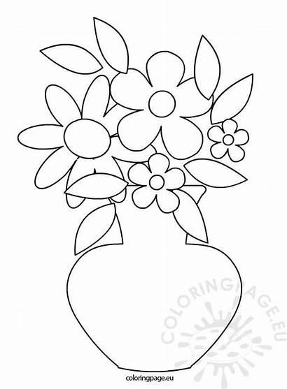 Flowers Spring Vase Coloriage Coloring Flower Vases