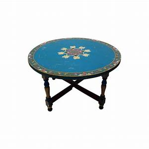 coffee table low round painted coffee table eagle coastal With painted coffee tables for sale