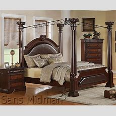 Empire Queen Poster Canopy Bed And 1nightstand Set For