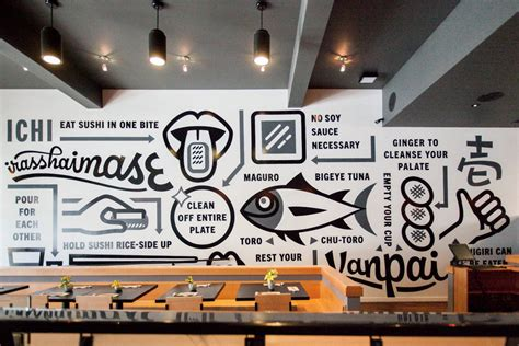 ichi sushi office wall graphics office mural wall design