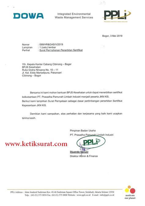 contoh surat permohonan penerbitan sertifikat bpjs ketik