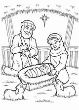 Jesus Coloring Manger Born Nativity Birth Drawing Pages Christmas Mary Printable Popular sketch template