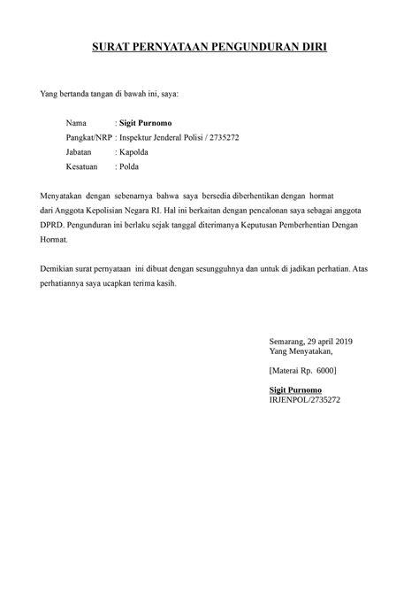 Surat pengunduran diri adalah surat yang dibuat oleh seseorang untuk menyatakan bahwa dirinya berhenti bekerja dari tempat atau instansi di mana mengajukan permohonan pengunduran diri dari jabatan sebagai admin pt. Contoh Surat Pengunduran Diri Dari Kantor Dinas