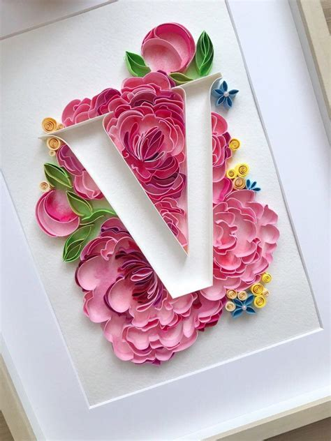 excited  share  item   etsy shop quilling letter  personalized floral monogram