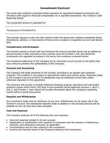 Investor Financing Agreement Template by 32 Sle Contract Templates In Microsoft Word