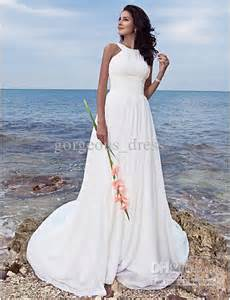 Chiffon Sweep Train Summer Beach Chiffon A Line Backless Wedding Dresses Empire Waist Halter Plus Size Maternity Bride Dress