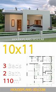 House, Design, 10x11, With, 3, Bedrooms, Terrace, Roof