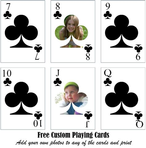 printable custom playing cards add  photo