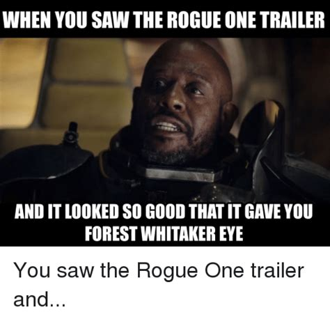 Rogue One Memes - when you saw the rogue one trailer and it looked so goodthat it gave you forest whitaker eye you
