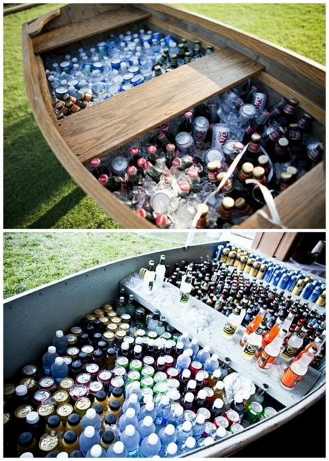 diy outdoor wedding reception beverage station dinner