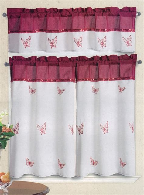 butterfly embroidered kitchen curtain white