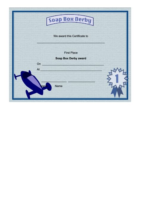 soap box derby  place certificate printable