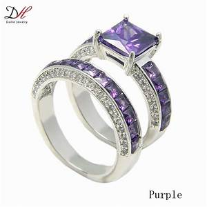 daihe prong cz turkish engagement wedding rings pink With purple wedding rings for women