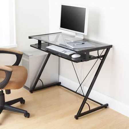 Solar Desk by Mainstays Solar Glass Top Desk Black Walmart