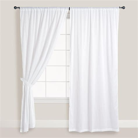 white cotton voile curtains set      world