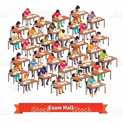 Exam Test Students Classroom Writing Illustration Vector