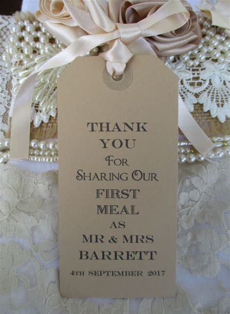 10 Thank You For Sharing Name Place Cards Personalized Luggage Tags Napkin Ties 120 X 60mm