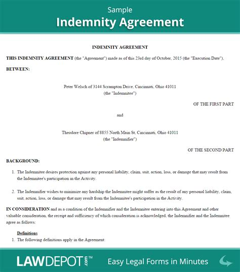 hold harmless agreement template  lawdepot