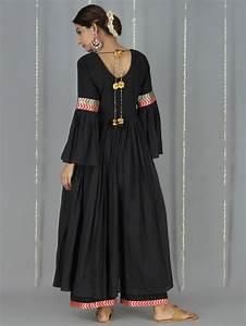 Black Cotton Mulmul Bell Sleeve Kurta New suits